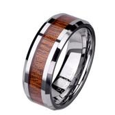 Brown Wood Inlay 8mm Tungsten Carbide Ring