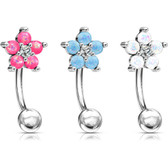 Opalescent Glitter Flower Steel Curved Barbell