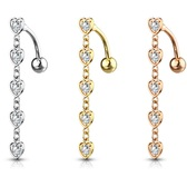 Top Down Five Heart Dangle Steel Belly Ring
