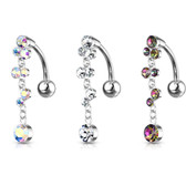 Top Down Crystal Cascade Dangle Steel Belly Ring