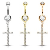 Micro Crystal Cross Dangle Steel Belly Ring