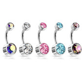 Double Jeweled Bezel Crystal G23 Titanium Belly Ring