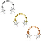 Flower CZ Petals Steel Horseshoe Ring 14G