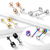 CZ Front/Barrel CZ Back Reversible Stud Earrings