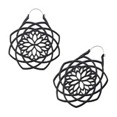 Matte Black Mandala Steel Plug Hoop Earrings