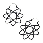 Matte Black Geometric Design Steel Plug Hoops