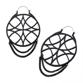 Matte Black Web & Chains Dangle Steel Plug Hoops