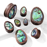 "Abalone Inlay Wood Teardrop Plugs (0g-1"")"