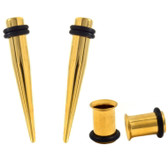 4PC Ear Stretching Kit 7mm (1G) All Gold Tapers/Tunnels