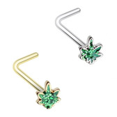 2PC Glitter Pot Leaf Steel Nose Rings (Bone/L-Shaped)