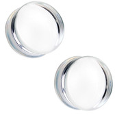 "Clear Flat Glass Plugs Double Flared (2g-1"")"