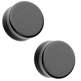 "Black Flat Glass Plugs Double Flared (2g-1"")"