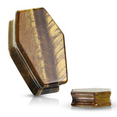 "Tiger Eye Stone Coffin Plugs (2g-1"")"