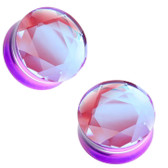"Reversible AB/Purple Glass Plugs Double Flared (2g-1"")"