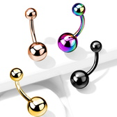 1-4PC 14G Double Ball G23 Titanium Belly Ring