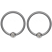 2PC 18G-14G Bezel CZ G23 Titanium Captive Bead Rings