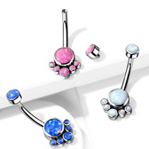 Synthetic Opal Cluster G23 Titanium Belly Ring