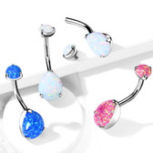 Pear Shape Synthetic Opal G23 Titanium Belly Ring