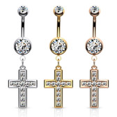 CZ Jeweled Cross Dangle Steel Belly Ring