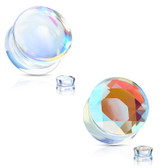 "4PC Iridescent Glass Smooth & Faceted Plugs (0g-5/8"")"