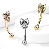 16G Owl Surgical Steel Curved Barbell Eyebrow Ring