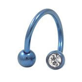 Blue Titanium Double Gem Twist Ring (2 Szs)