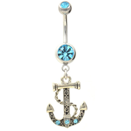 Vintage nautical anchor theme belly navel ring