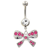 Brilliant Pink Bow Tie Dangle Belly Ring