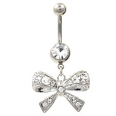 Brilliant Clear Bow Tie Dangle Belly Ring