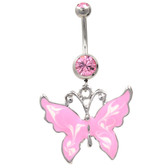 Whimsical Shiny Butterfly Pink Belly Ring