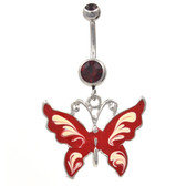 Whimsical Shiny Butterfly Red Belly Ring
