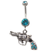 Steel Revolver Gun Dangle Belly Ring w/Teal Gems