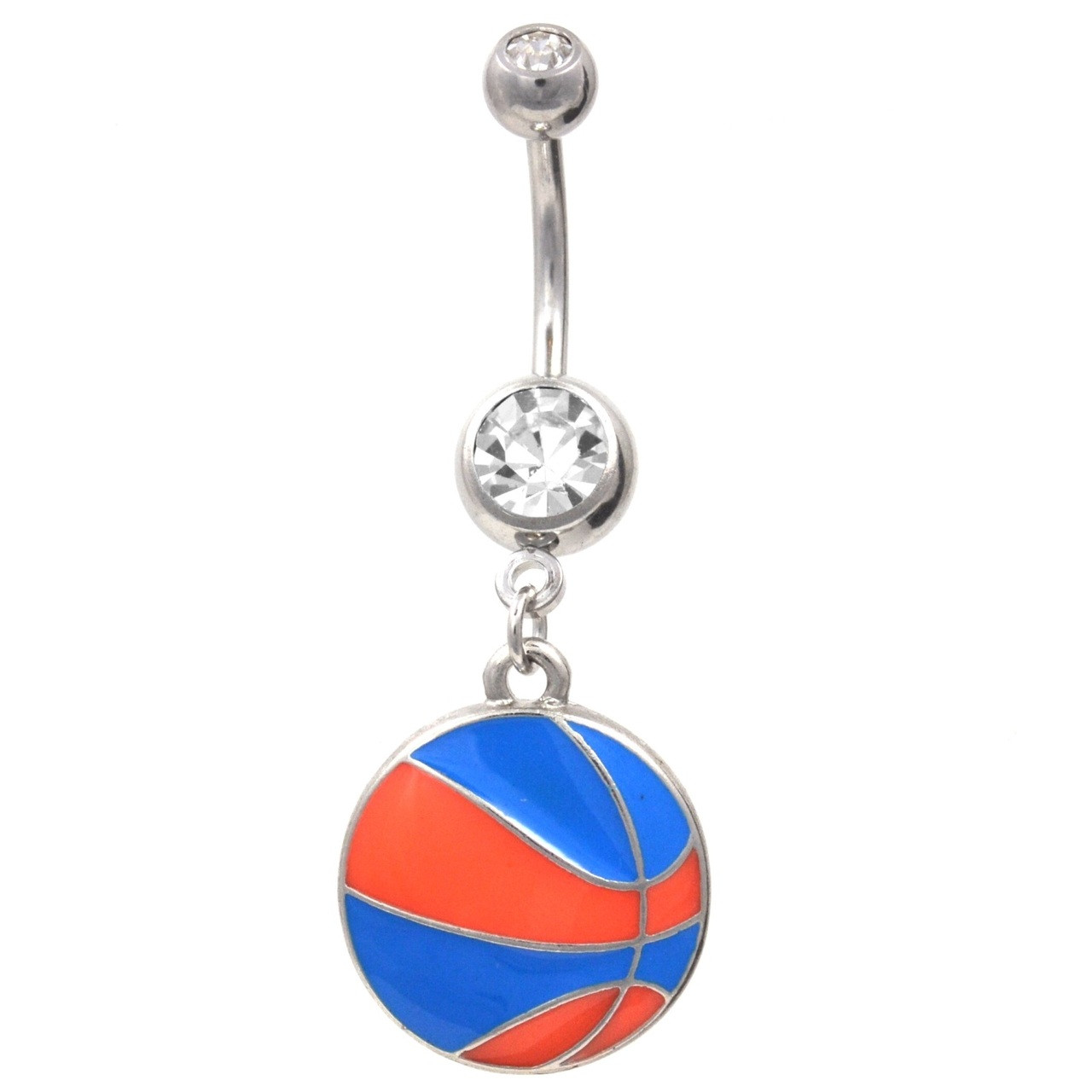 Blue And Orange Basketball Dangle Belly Ring