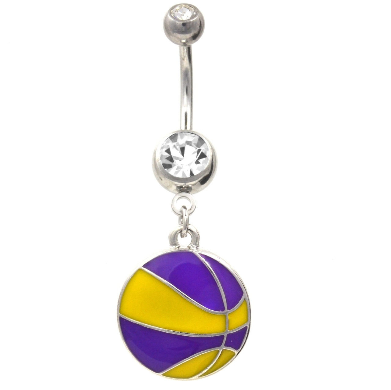 Purple And Yellow Basketball Dangle Belly Ring