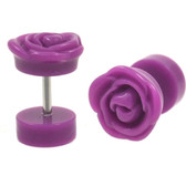 Purple Rose Fake Plug Acrylic Earrings