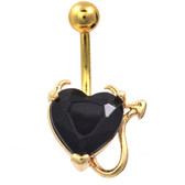 Devilish Black Heart Gold Plated Belly Ring