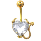 Devilish Clear Heart Gold Plated Belly Ring