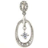 Clear Blingy Reverse Hoop Dangle Belly Ring