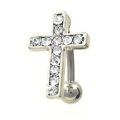 Top Down Gem Paved Clear Cross Belly Ring