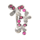Pink Gem Butterfly Trail Top Down Belly Ring