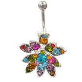 Stained Glass Rainbow Lotus Flower Belly Ring