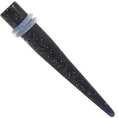Pair - Black Glitter Acrylic Tapers (14g-00g)