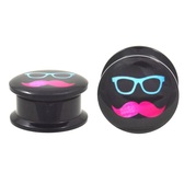 "Neon Sunnies & Stache Screw Ear Plugs (8g-13/16"")"