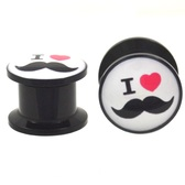 "I Heart Mustache Screw Ear Plugs (8g-13/16"")"