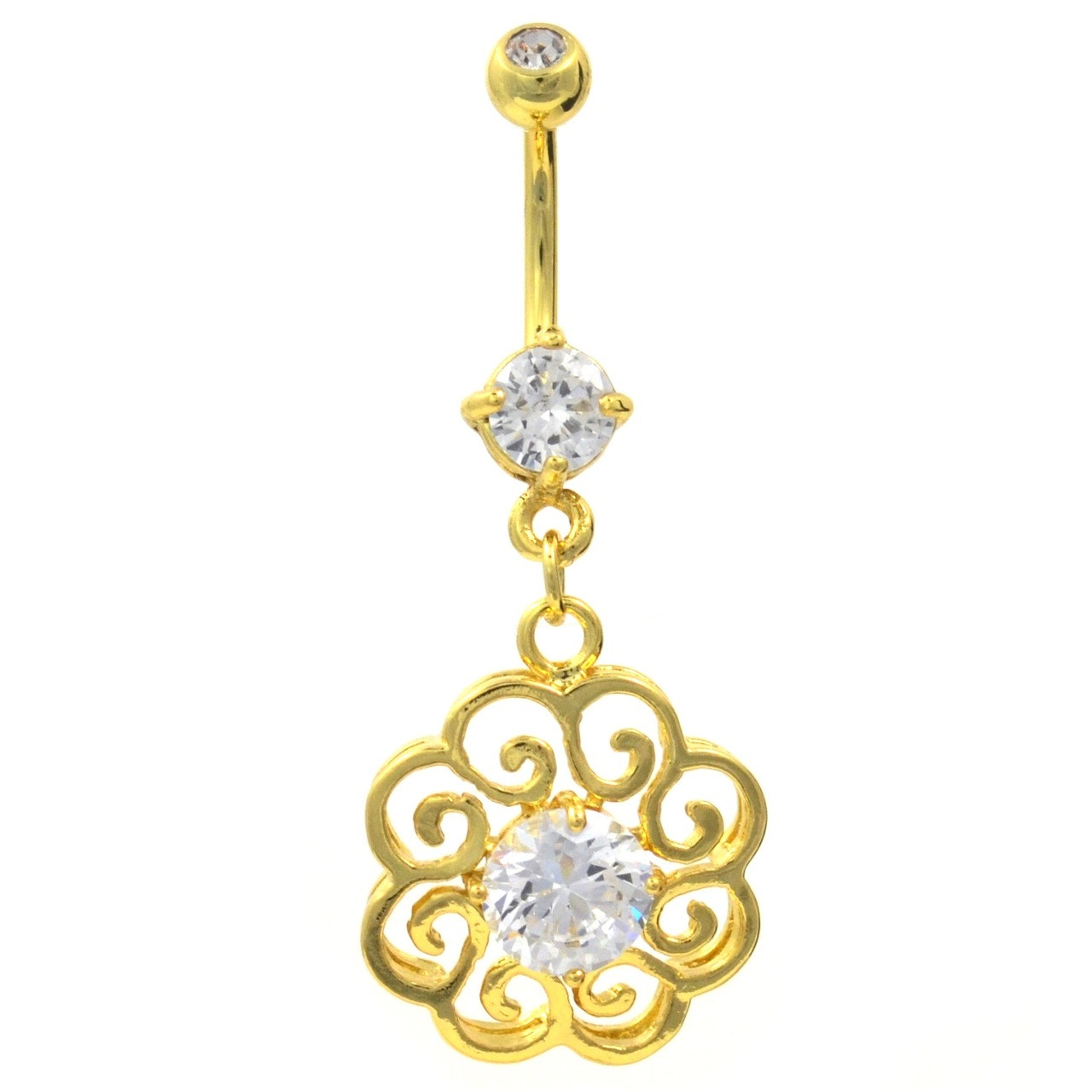Gold Plated Hollow Swirly Medallion Belly Ring