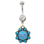 Blue Gem Antique Spiked Medallion Belly Ring