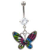 Tie Dye Butterfly Dangle Belly Ring w/Clear Gem