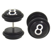 Black & White 8 Ball Fake Plug Earrings (00g Look)