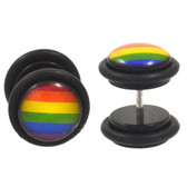 Rainbow Flag LGBT Fake Plug Earrings (00g Look)