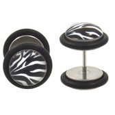 Black & White Zebra Fake Plug Earrings (00g Look)